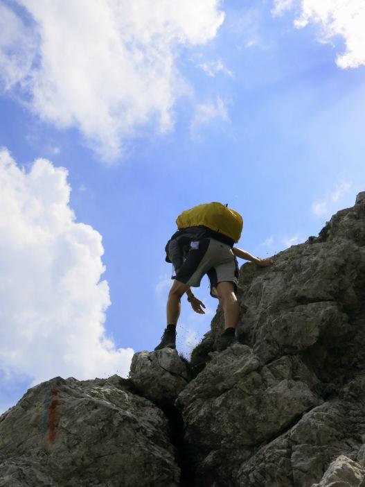 Kletterpassage im Massiv des Cima dei Preti